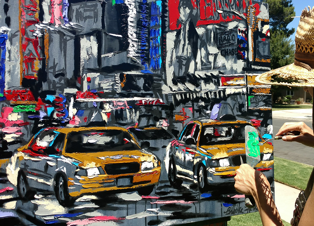 "Harker painting ""Parade of Taxis"""