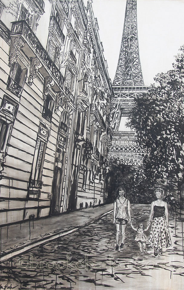 Sisters in Paris   by Brooke Harker   78 x 55  ink & acrylic on canvas   SOLD