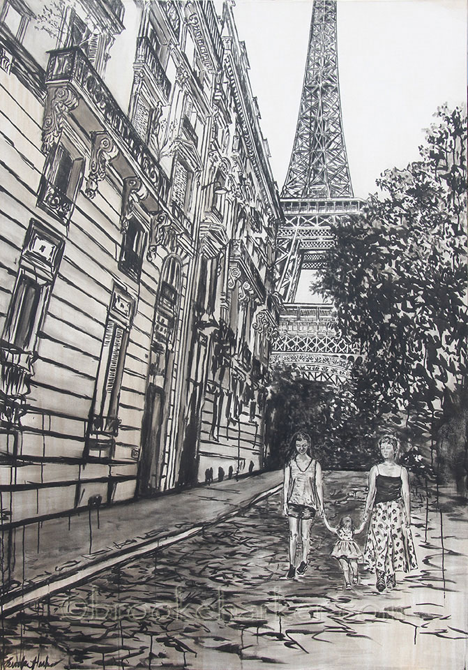 Sisters in Paris | by Brooke Harker | 78 x 55| ink & acrylic on canvas | SOLD