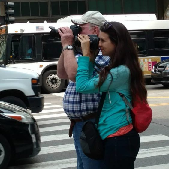 taking pics with dad Chicago