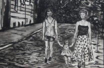 """close up of the sisters in Brooke Harker's """"Sisters in Paris"""""""