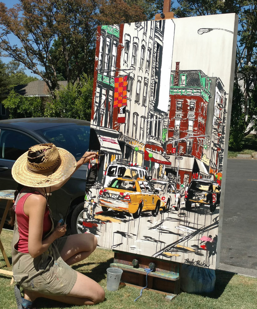 "artist Brooke Harker paints ""Urban River"""