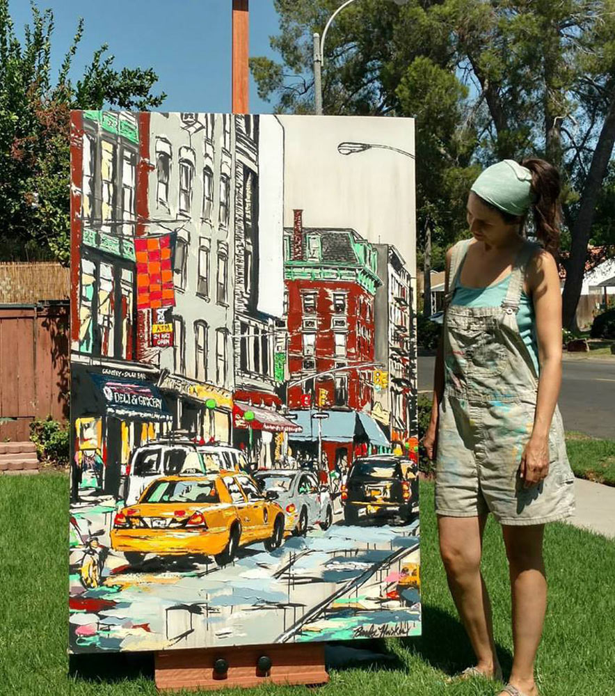"artist Brooke Harker with the completed painting ""Urban River"""