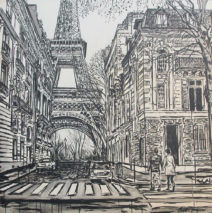 Ballade à Paris | by Brooke Harker | 48 x 48  | ink and acrylic on canvas | SOLD